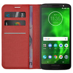 Leather Wallet Case & Card Holder Pouch for Motorola Moto G6 - Red